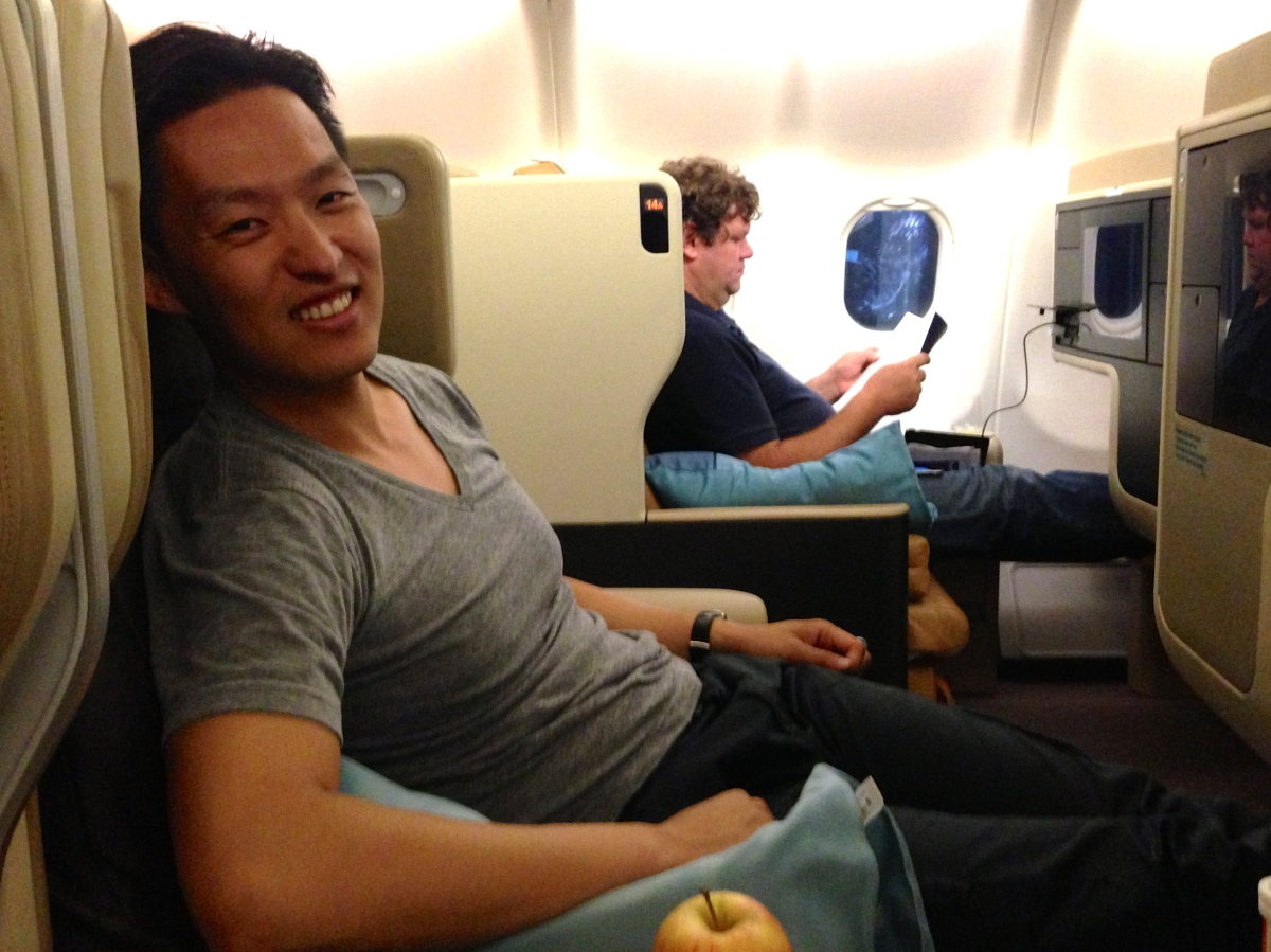Eric on Singapore Airlines flight from New York to Singapore