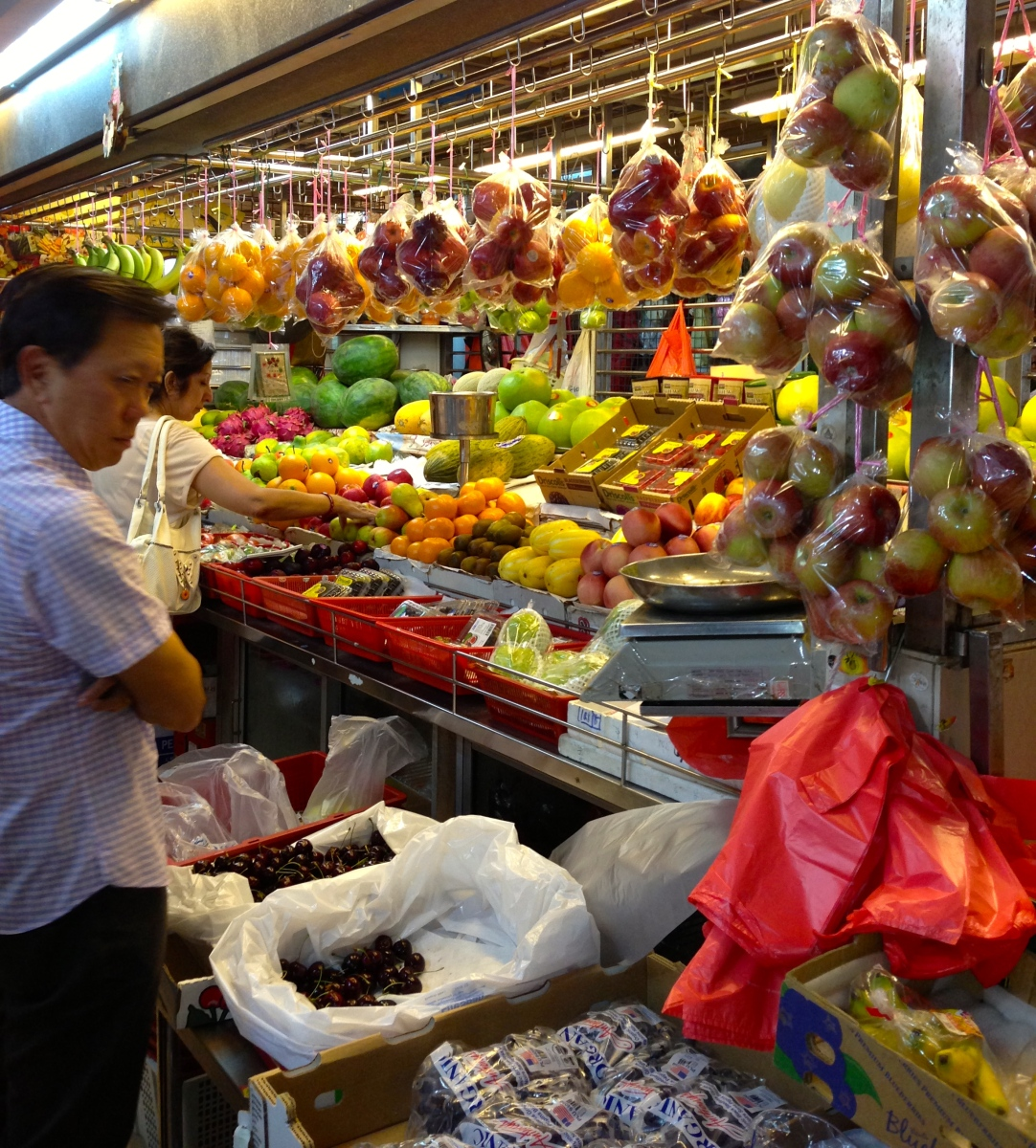 Wet market fruit stand in Singapore