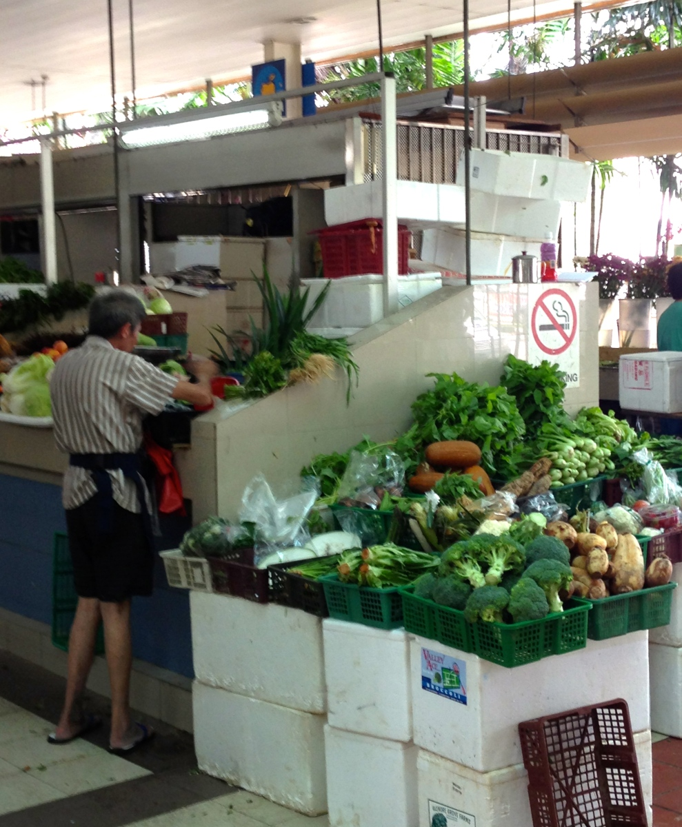 A wet market vegetable stall in Singapore