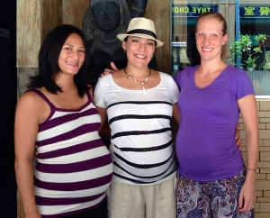 Hypnobirthing moms. Emily (right) and I are both 40 weeks pregnant in this photo. Juliana is 35 weeks along.